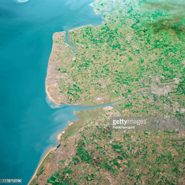 blackpool uk 3d render aerial landscape view from south jun 2018 - southport england stock pictures, royalty-free photos & images
