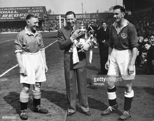 Blackpool v Portsmouth 6th May 1939 George Formby seen here at the start of the match with James Blair and Jimmy Guthrie holding the FA Cup a week...