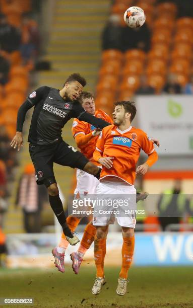 Blackpool's Andrea Orlandi Tom Barkhuizen and Charlton Athletic's Jordan Cousins