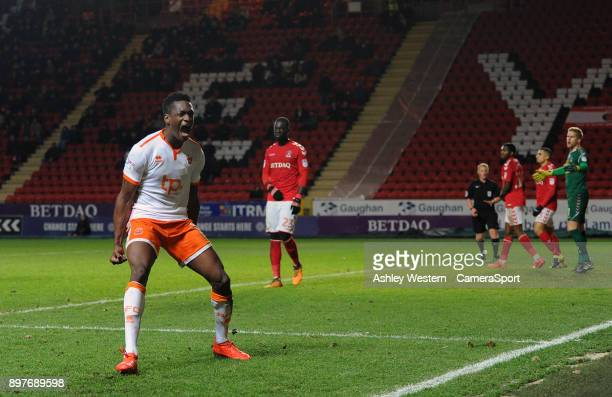 Blackpool's Armand Gnanduillet celebrates scoring his side's equalising goal to make the score 11 during the Sky Bet League One match between...