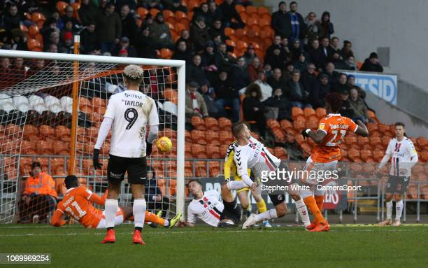 Blackpool's Armand Gnanduillet scores the opening goal during the Sky Bet League One match between Blackpool and Charlton Athletic at Bloomfield Road...