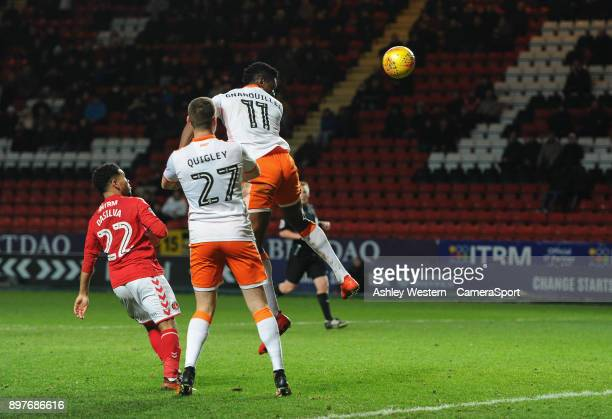 Blackpool's Armand Gnanduillet scoring his side's equalising goal to make the score 11 during the Sky Bet League One match between Charlton Athletic...