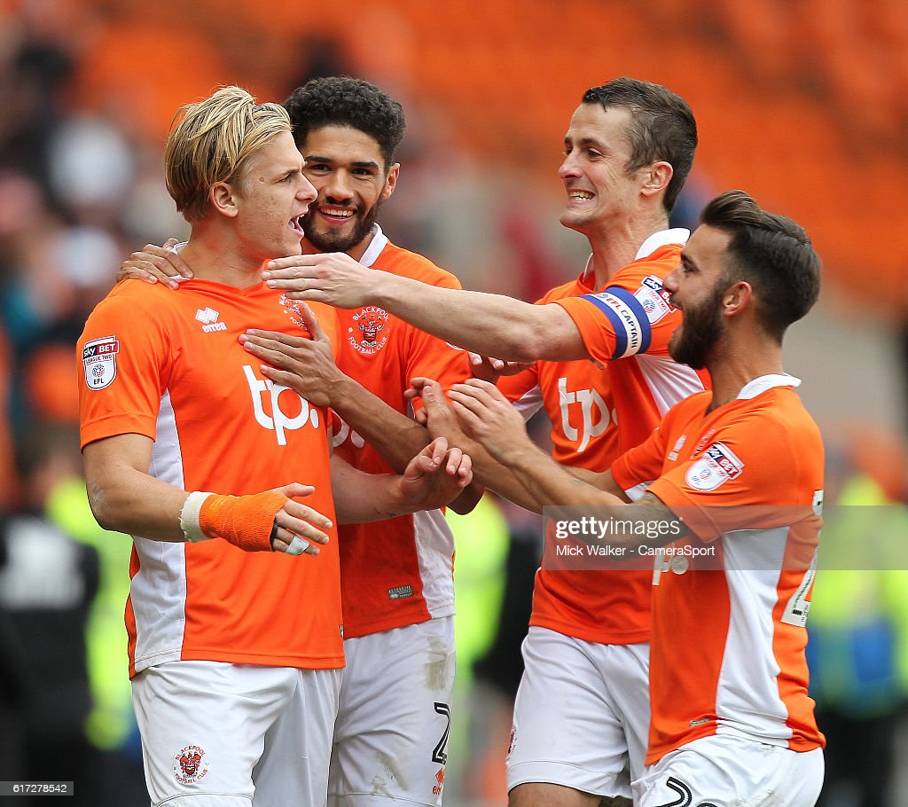 Blackpool's Brad Potts celebrates scoring his sides third goal during the Sky Bet League Two match between Blackpool and Doncaster Rovers at Bloomfield Road on October 22, 2016 in Blackpool, England.