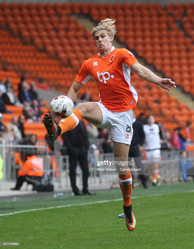 Blackpool's Brad Potts during the Sky Bet League Two match between Blackpool and Doncaster Rovers at Bloomfield Road on October 22, 2016 in Blackpool, England.