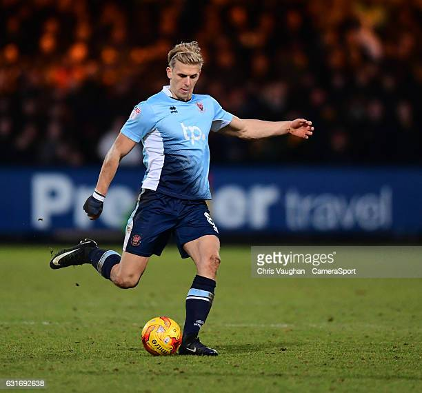 Blackpool's Brad Potts during the Sky Bet League Two match between Cambridge United and Blackpool at Abbey Stadium on January 14, 2017 in Cambridge,...