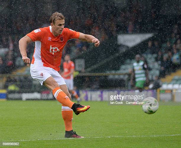 Blackpool's Brad Potts has a shot at goa during the Sky Bet League Two match between Yeovil Town and Blackpool at Huish Park on September 3, 2016 in...