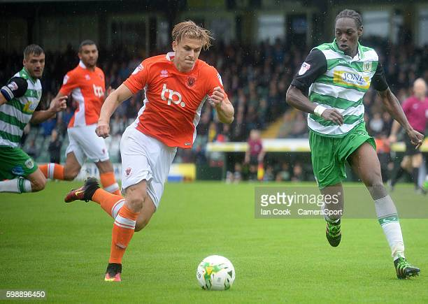 Blackpool's Brad Potts is closed down by Yeovil Town's Nathan Smith during the Sky Bet League Two match between Yeovil Town and Blackpool at Huish...