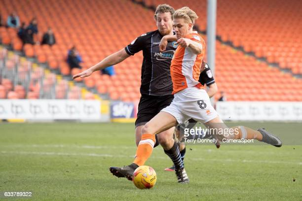 Blackpool's Brad Potts shoots at goal during the Sky Bet League Two match between Blackpool and Colchester United at Bloomfield Road on February 4,...