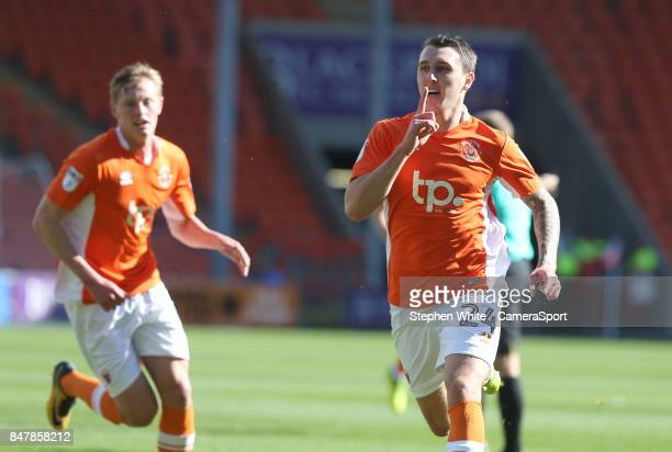Blackpool's Callum Cooke celebrates scoring his side's second goal during the Sky Bet League One match between Blackpool and Oxford United at...
