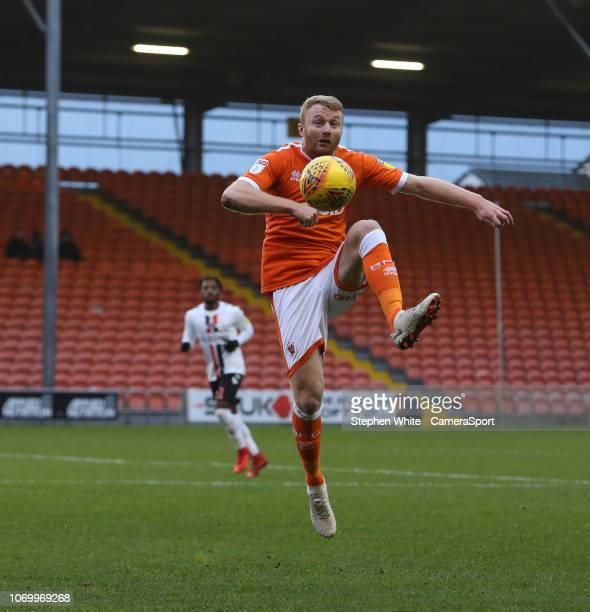 Blackpool's Chris Taylor during the Sky Bet League One match between Blackpool and Charlton Athletic at Bloomfield Road on December 8 2018 in...