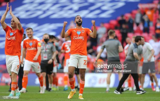 Blackpool's CJ Hamilton celebrates at the end of the match during the Sky Bet League One Play-off Final match between Blackpool and Lincoln City at...
