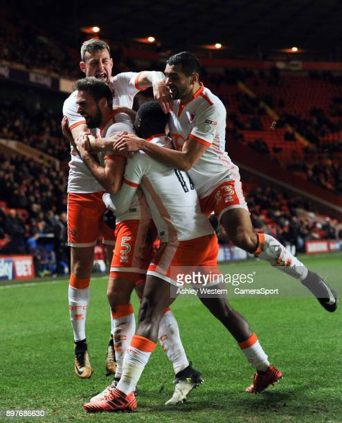 Blackpool's Clark Robertson celebrates scoring his side's equalising goal to make the score 11 during the Sky Bet League One match between Charlton...