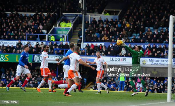 GOAL Blackpool's Clark Robertson scores his side's second goal during the Sky Bet League One match between Portsmouth and Blackpool at Fratton Park...