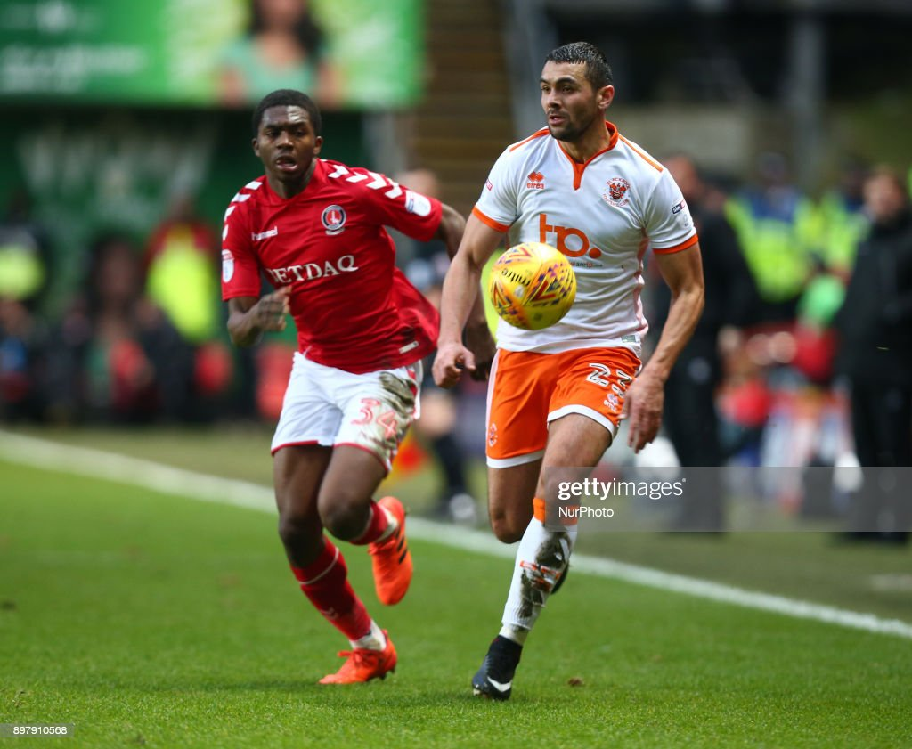 Blackpool's Colin Daniel during Sky Bet League One match between Charlton Athletic against Blackpool at The Valley Stadium London on 23 Dec 2017