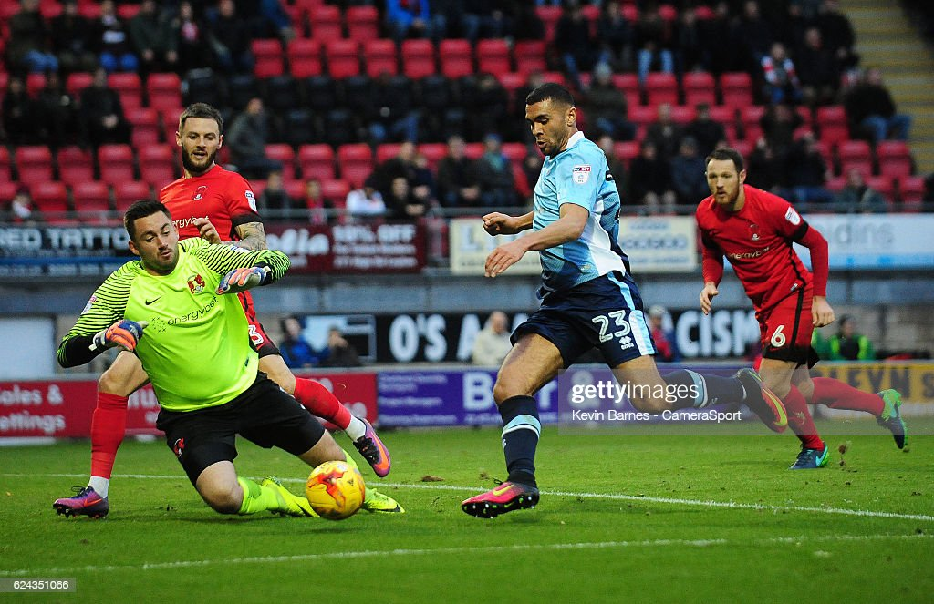 Blackpool's Colin Daniel under pressure from Leyton Orient's Alex Cisak during the Sky Bet League Two match between Leyton Orient and Blackpool at Brisbane Road on November 19, 2016 in London, England.