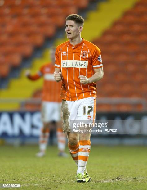 Blackpool's Danny Philliskirk celebrates after the final whistle