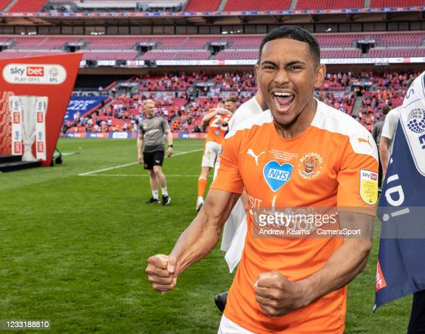 Blackpool's Demi Mitchell celebrates during the Sky Bet League One Play-off Final match between Blackpool and Lincoln City at Wembley Stadium on May...