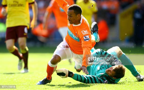 Blackpool's Dudley Campbell goes down from a challenge by Arsenal's goalkeeper Jens Lehmann .