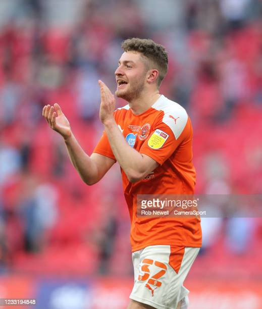 Blackpool's Elliot Embleton celebrates at the end of the match during the Sky Bet League One Play-off Final match between Blackpool and Lincoln City...