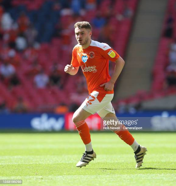 Blackpool's Elliot Embleton during the Sky Bet League One Play-off Final match between Blackpool and Lincoln City at Wembley Stadium on May 30, 2021...