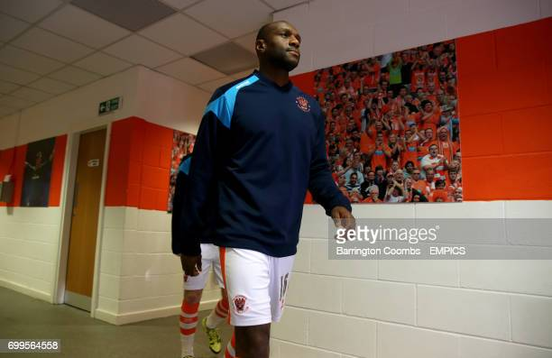 Blackpool's Emmerson Boyce makes his way from the tunnel before the game