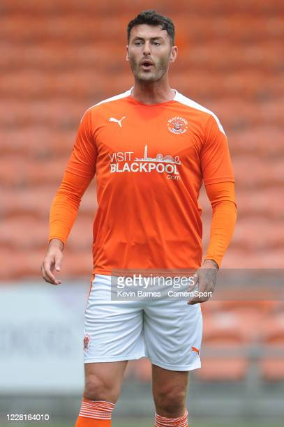 Blackpool's Gary Madine during the Pre-Season Friendly match between Blackpool and Everton at Bloomfield Road on August 22, 2020 in Blackpool,...