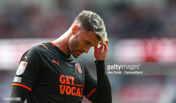 Blackpool's Gary Madine during the Sky Bet Championship match between Middlesbrough and Blackpool at Riverside Stadium on September 18, 2021 in...