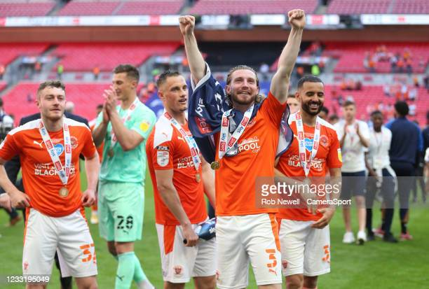 Blackpool's James Husband celebrates during the Sky Bet League One Play-off Final match between Blackpool and Lincoln City at Wembley Stadium on May...