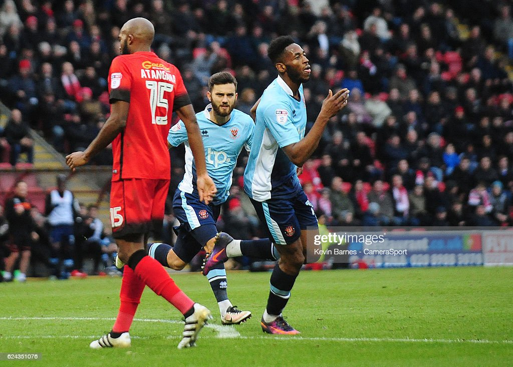 Blackpool's Jamille Matt celebrates scoring his sides first goal during the Sky Bet League Two match between Leyton Orient and Blackpool at Brisbane Road on November 19, 2016 in London, England.