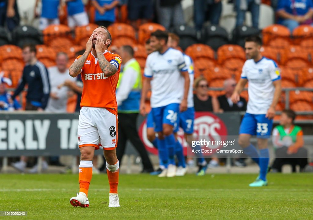 Blackpool's Jay Spearing reacts after his side went 2-0 down during the Sky Bet League One match between Blackpool and Portsmouth at Bloomfield Road on August 11, 2018 in Blackpool, United Kingdom.