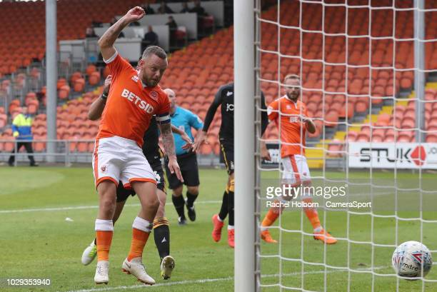 BLACKPOOL ENGLAND SEPTEMBER Blackpool's Jay Spearing scores his side's second goal from a penalty kick rebound during the Sky Bet League One match...