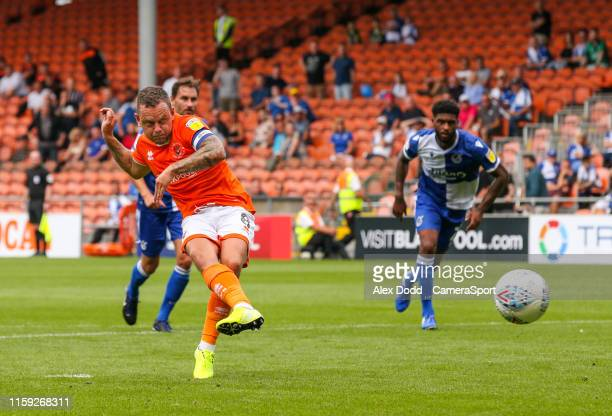 Blackpool's Jay Spearing scores the opening goal from the penalty spot during the Sky Bet League One match between Blackpool and Bristol Rovers at...