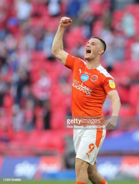 Blackpool's Jerry Yates celebrates at the end of the match during the Sky Bet League One Play-off Final match between Blackpool and Lincoln City at...
