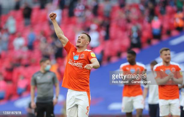 Blackpool's Jerry Yates celebrates at the final whistle during the Sky Bet League One Play-off Final match between Blackpool and Lincoln City at...