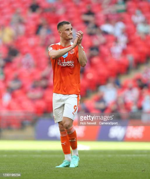 Blackpool's Jerry Yates during the Sky Bet League One Play-off Final match between Blackpool and Lincoln City at Wembley Stadium on May 30, 2021 in...