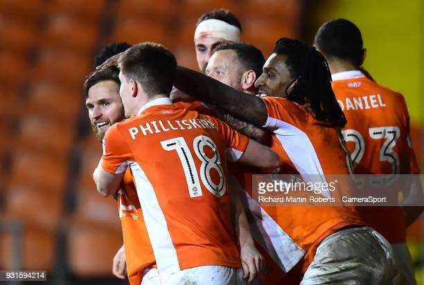 Blackpool's Jimmy Ryan celebrates scoring his side's first goal with his teammates during the Sky Bet League One match between Blackpool and Charlton...