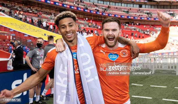 Blackpool's Jordan Lawrence-Gabriel and Oliver Turton celebrate during the Sky Bet League One Play-off Final match between Blackpool and Lincoln City...