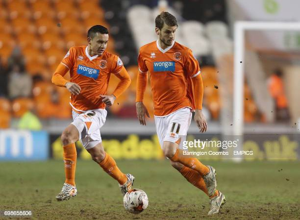 Blackpool's Jose Cubero and Andrea Orlandi during the game against Charlton Athletic