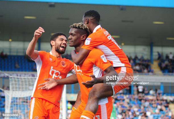 CELE Blackpool's Kelvin Mellor celebrates scoring his side's third goal with team mates Armand Gnanduillet and Viv SolomonOtabor during the Sky Bet...