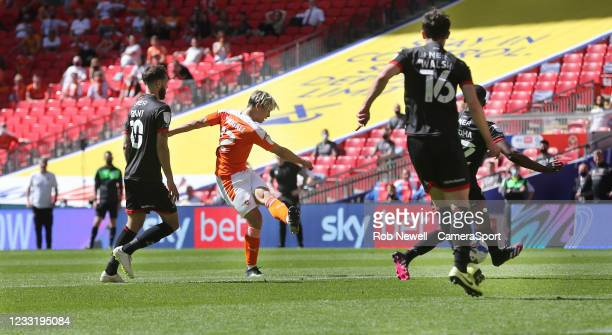 Blackpool's Kenny Dougall scores his side's first goal during the Sky Bet League One Play-off Final match between Blackpool and Lincoln City at...