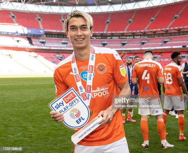 Blackpool's Kenny Dougall with his Man of the Match award during the Sky Bet League One Play-off Final match between Blackpool and Lincoln City at...