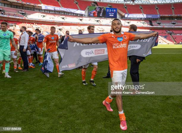Blackpool's Keshi Anderson celebrates during the Sky Bet League One Play-off Final match between Blackpool and Lincoln City at Wembley Stadium on May...