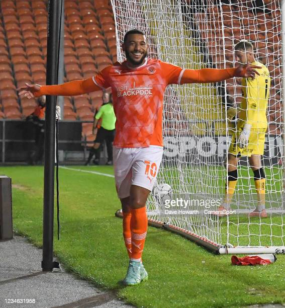 Blackpool's Keshi Anderson celebrates scoring his sides 3rd goal during the Carabao Cup Northern Section First Round match between Blackpool and...