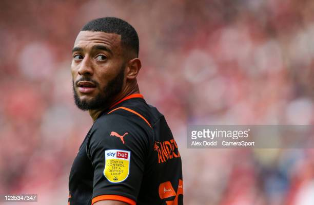 Blackpool's Keshi Anderson during the Sky Bet Championship match between Middlesbrough and Blackpool at Riverside Stadium on September 18, 2021 in...