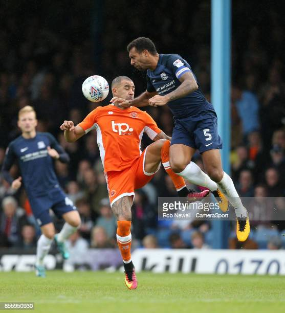 Blackpool's Kyle Vassell and Southend United's Anton Ferdinand during the Sky Bet League One match between Southend United and Blackpool at Roots...