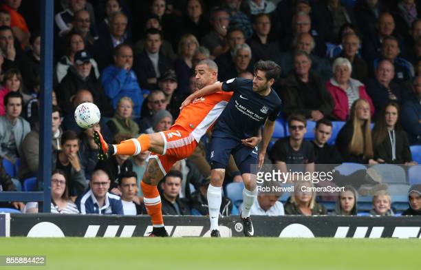 Blackpool's Kyle Vassell and Southend United's Michael Timlin during the Sky Bet League One match between Southend United and Blackpool at Roots Hall...