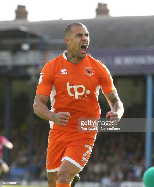 Blackpool's Kyle Vassell celebrates scoring his sides first goal during the Sky Bet League One match between Southend United and Blackpool at Roots...
