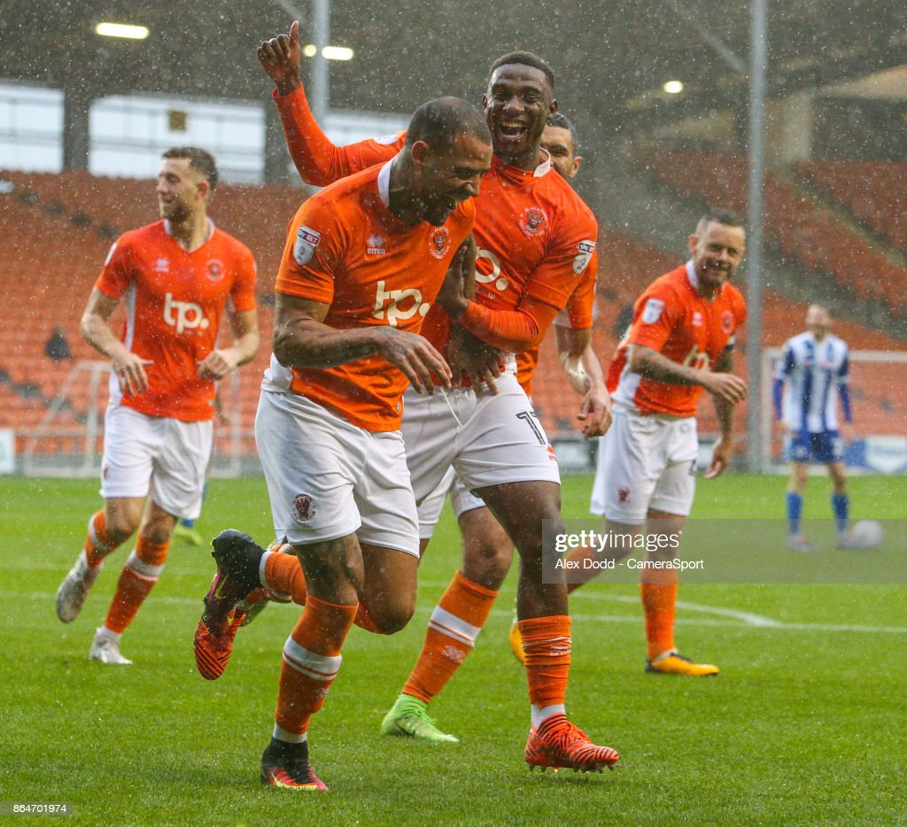 Blackpool's Kyle Vassell celebrates scoring his side's first goal with teammate Viv Solomon-Otabor during the Sky Bet League One match between Blackpool and Wigan Athletic at Bloomfield Road on October 21, 2017 in Blackpool, England.