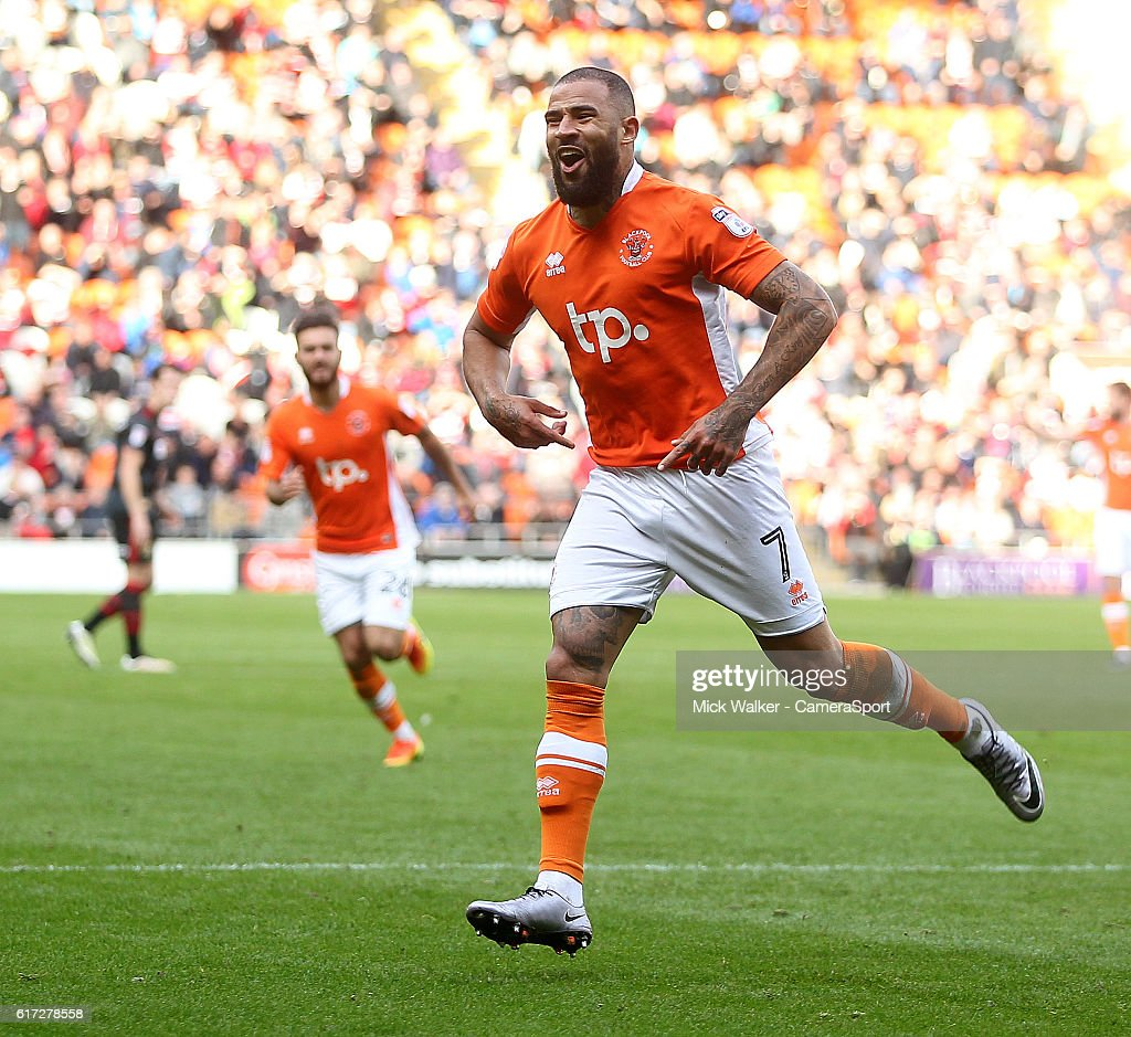 Blackpool's Kyle Vassell celebrates scoring his sides fourth goal during the Sky Bet League Two match between Blackpool and Doncaster Rovers at Bloomfield Road on October 22, 2016 in Blackpool, England.