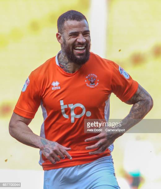 Blackpool's Kyle Vassell celebrates scoring his sides second goal during the Sky Bet League Two match between Blackpool and Hartlepool United at...